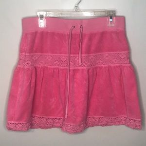 JUICY COUTURE VTG Pink Terry & Crochet Skirt M